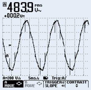Typical frequency inverter harmonic waveform
